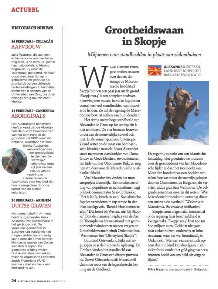 Skopje Historisch Nieuwsblad kopie